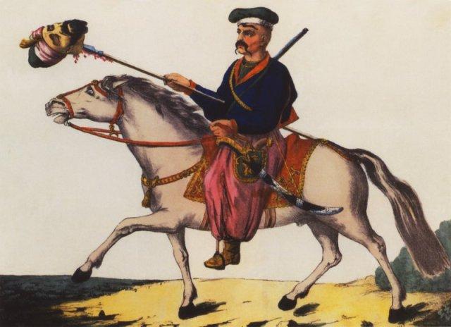 Tymofiy Kalynskyi, Victorious Ukrainian Cossack with a head of a Tatarin.
