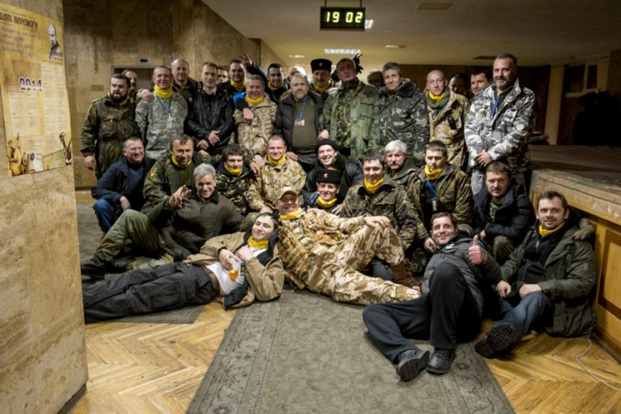 Andrij Parubij z szefami sztabów 'obrony' Majdanu