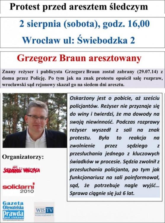 Prosest w obronie Grzegorza Brauna