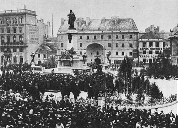 Uroczystość odsłonięcia pomnika Adama Mickiewicza w Warszawie 24 grudnia 1898 r.