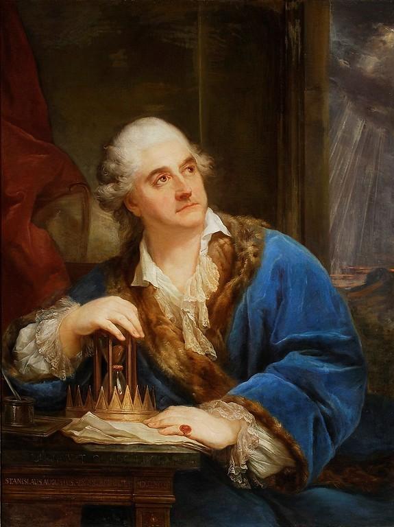 Mason Stanisław August Poniatowski z klepsydrą, Marcello Bacciarelli, 1793, olej, płótno. Muzeum Narodowe w Warszawie