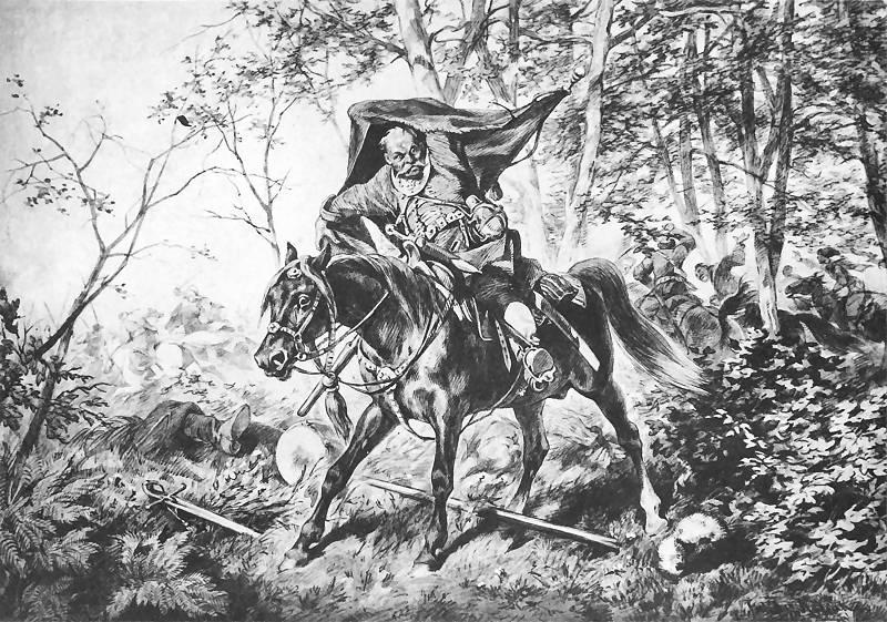 """Juliusz Kossak, """"Zagłoba zdobywa chorągiew"""", 1886 r."""