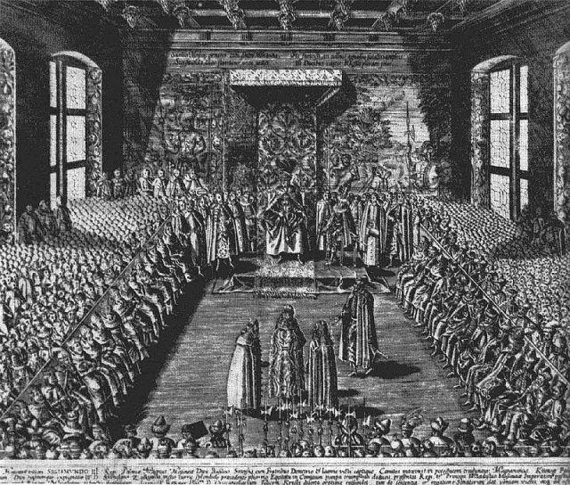 """Tomasz Makowski """"Stanisław Żółkiewski przedstawiający na sejmie warszawskim w 1611 r. cara Wasyla Szujskiego"""", sztych, 1613"""