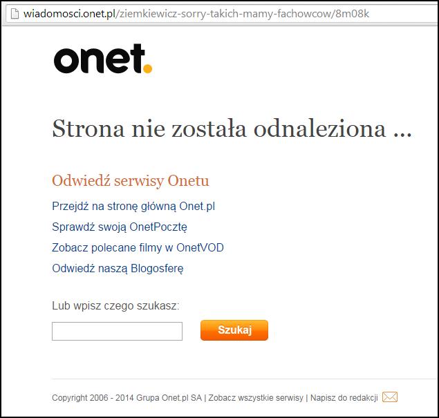 Zablokowany przez Onet.pl felieton Ziemkiewicza. Panie Rafale, nie wie pan do kogo należy Onet i czyje interesy w KE reprezentuje Bieńkowska?